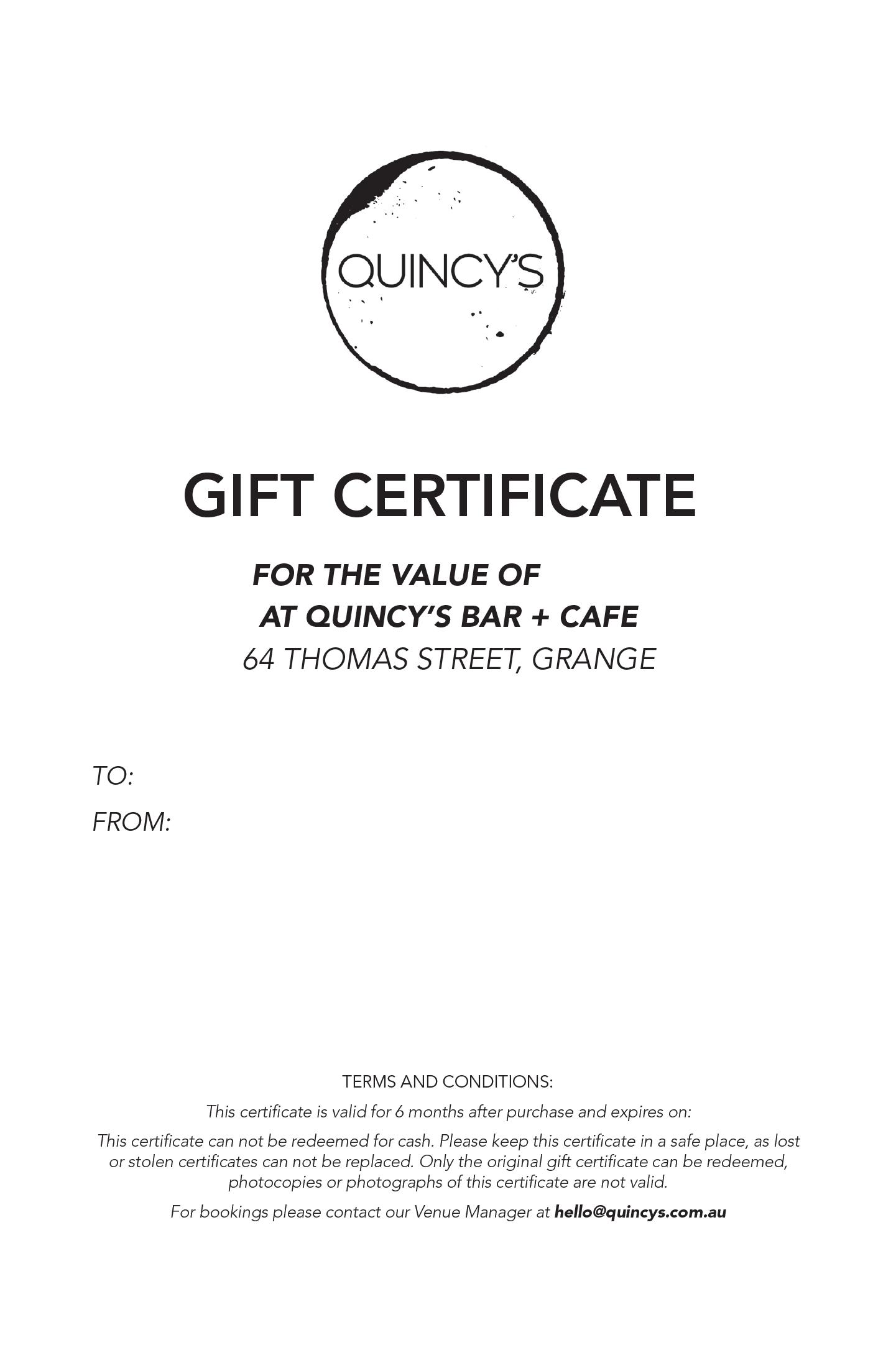 200 Gift Voucher Quincys